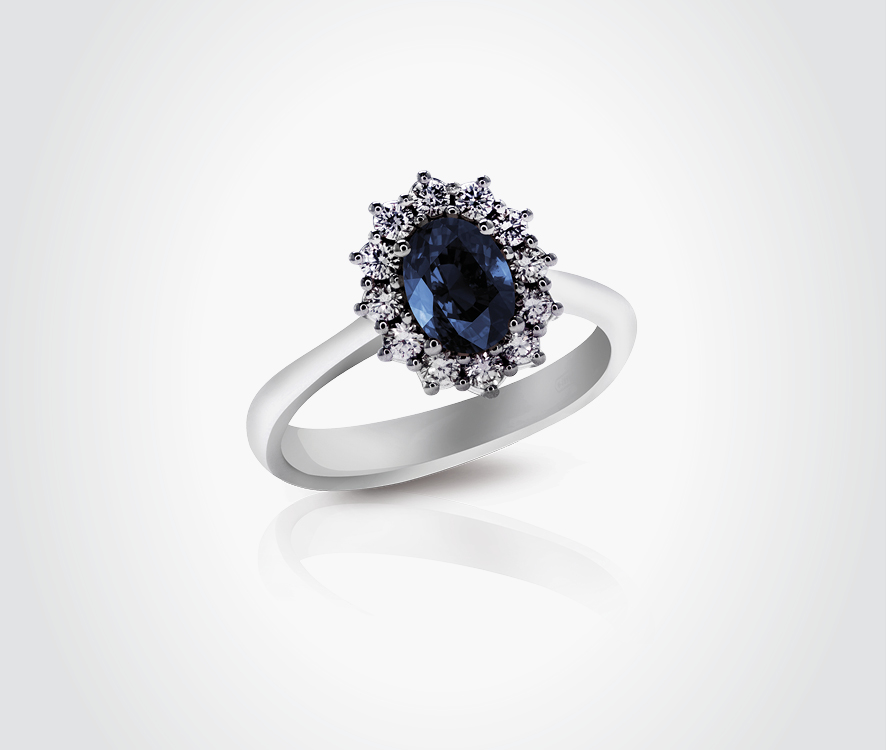 Blue Sapphire & Diamond Ring - Sunflower Chic Collection