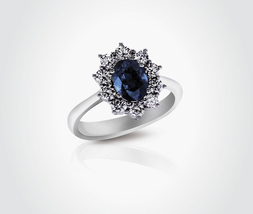 Blue Sapphire & Diamond Ring - Sunflower Grande Collection